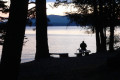 My Hagman fishing at our campsite on the shores of Lake Pend &#039;Orielle in Northern Idaho