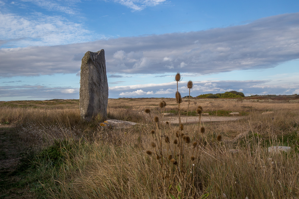 The larger and broken menhir at Goalennac on the Quiberon Peninsula, Brittany